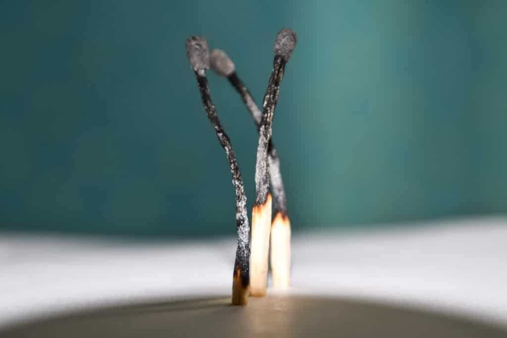 Burnt matches, concept for highly prevalent resident burnout. Highly prevalent resident burnout.